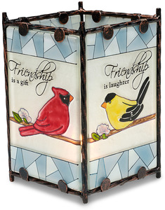 "Friendship by Peace Love & Birds - 3.25"" x 5.25"" Glass Candle Holder"