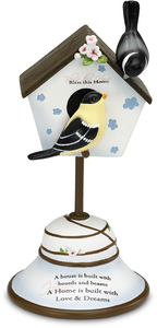 "Bless this Home by Peace Love & Birds - 7"" Decor Bird House Finial"