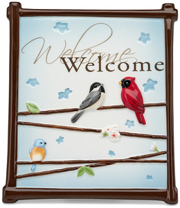 "Welcome by Peace Love & Birds - 6"" x 7"" Plaque/Wall Hanging"
