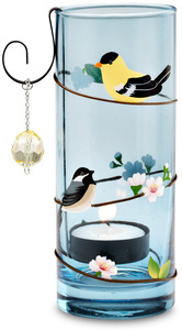"Laugh Often by Peace Love & Birds - 2.5"" x 6"" Hurricane Tea Light Holder"