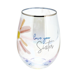 Sister by Rosy Heart - 18 oz Stemless Wine Glass
