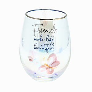 Friends by Rosy Heart - 18 oz Stemless Wine Glass