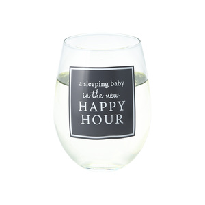 Happy Hour by A-Parent-ly - 18 oz Stemless Wine Glass