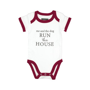 Run The House by A-Parent-ly - 6-12 Months Burgundy Trimmed Bodysuit