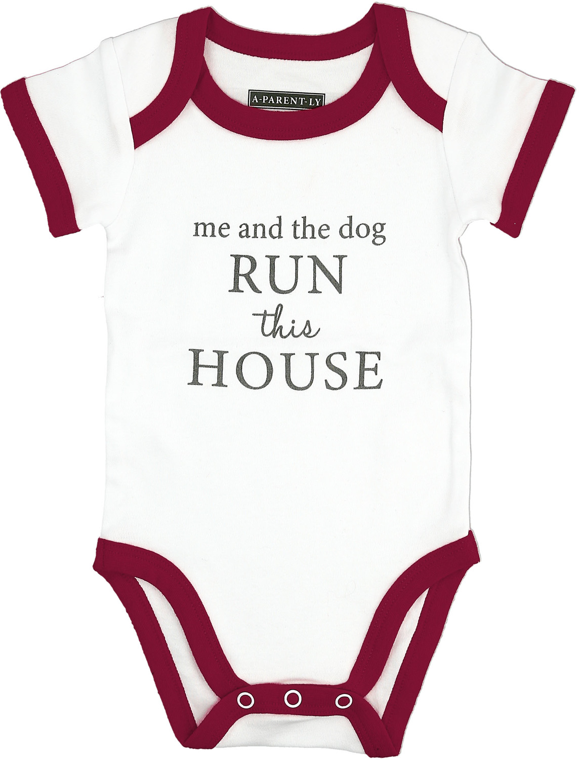 Run The House by A-Parent-ly - Run The House - 12-24 Months Burgundy Trimmed Bodysuit