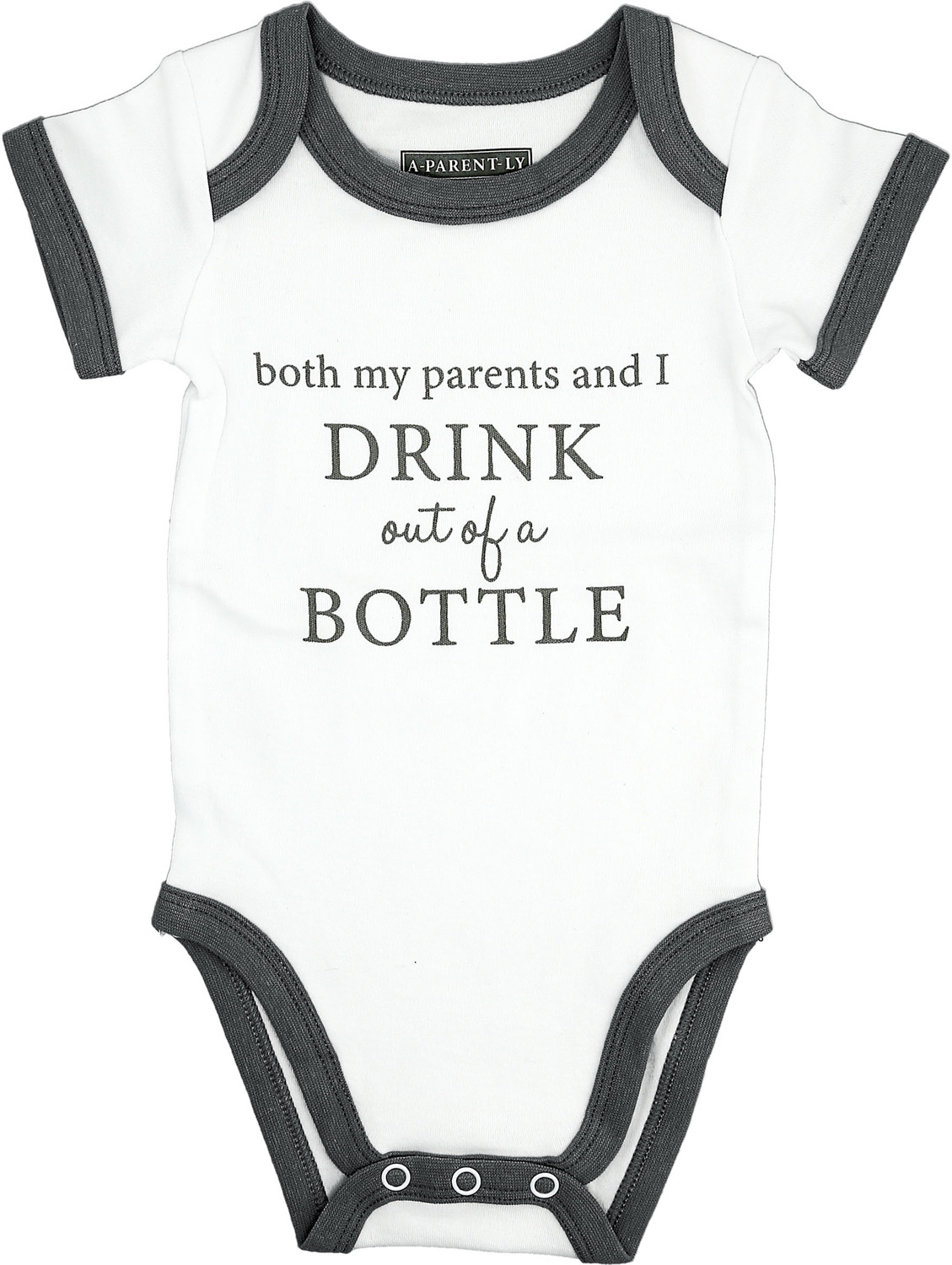 Bottle by A-Parent-ly - Bottle - 6-12 Months Gray Trimmed Bodysuit