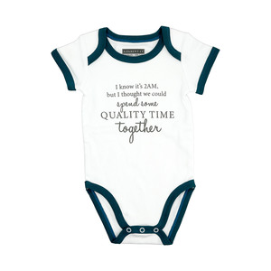 Quality Time by A-Parent-ly - 6-12 Months Teal Trimmed Bodysuit