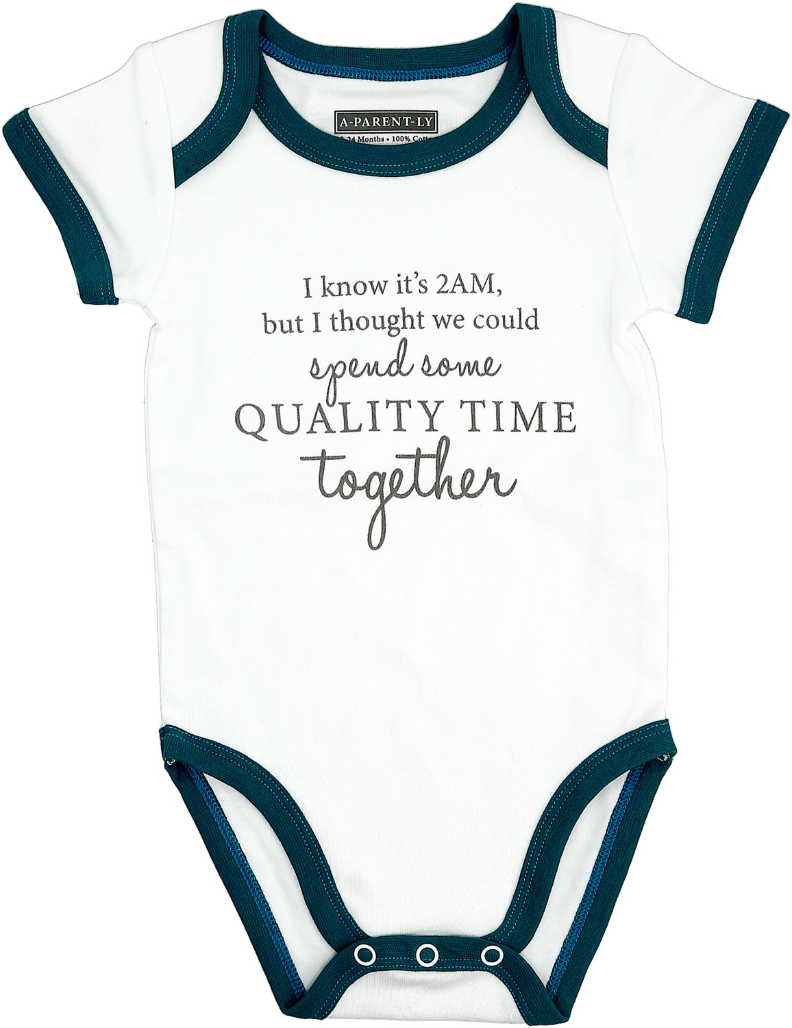 Quality Time by A-Parent-ly - Quality Time - 12-24 Months Teal Trimmed Bodysuit