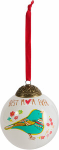 Mom by A Mother's Love by Amylee Weeks - 80mm Glass Ornament