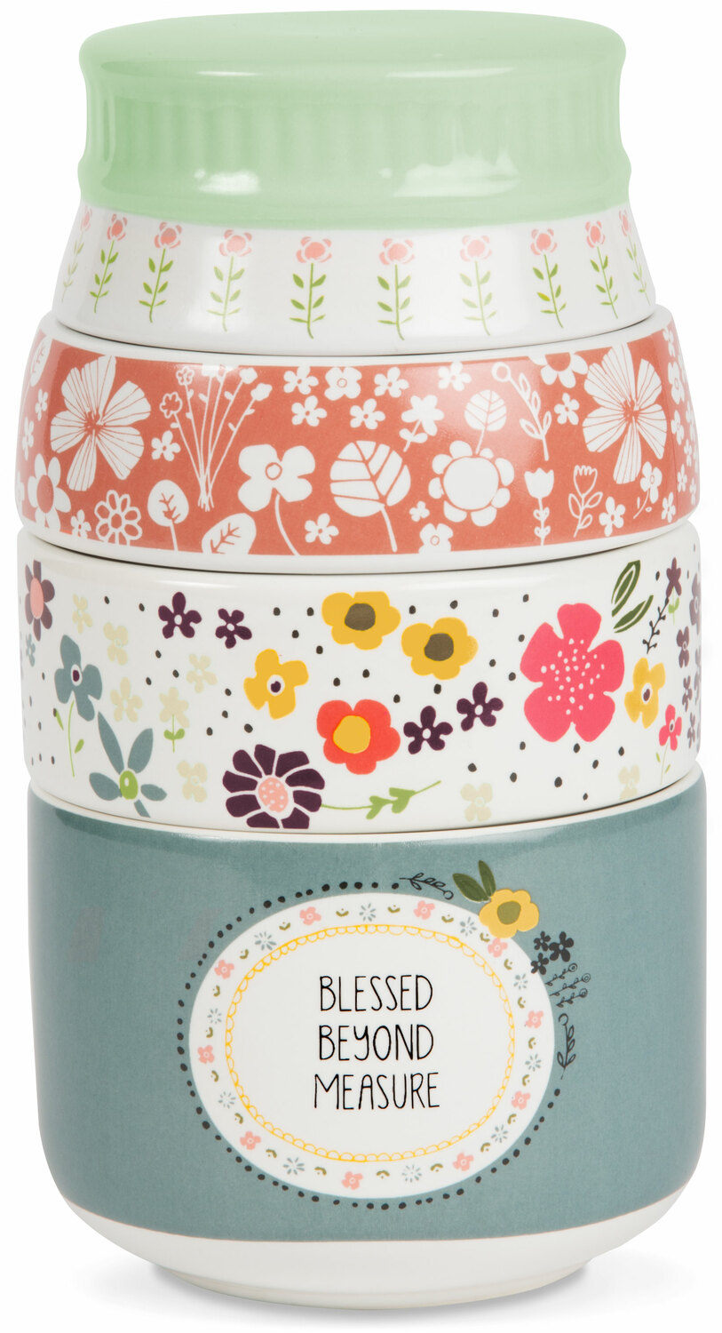 "Blessed by Love You More - Blessed - 6"" x 3.5"" Stacked Measuring Cups"
