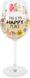 Happy Place by Love You More - 12 oz Crystal Wine Glass