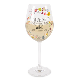 Girlfriend by Love You More - 12 oz Crystal Wine Glass