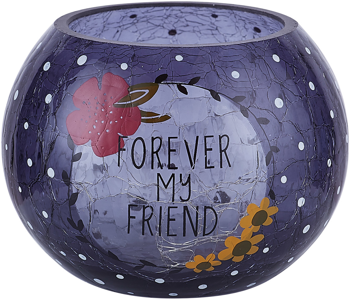 "Friend by Love You More - Friend - 5"" Crackled Glass Votive Holder"