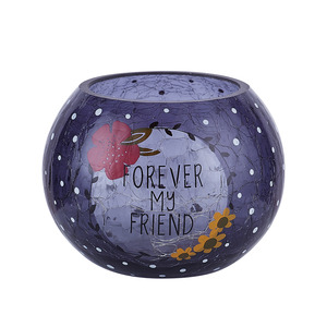 "Friend by Love You More - 5"" Crackled Glass Votive Holder"