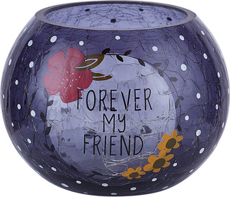 "Friend by Love You More - 5"" Crackled Glass Tealight Holder"
