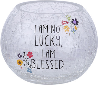"Blessed by Love You More - 5"" Crackled Glass Tealight Holder"