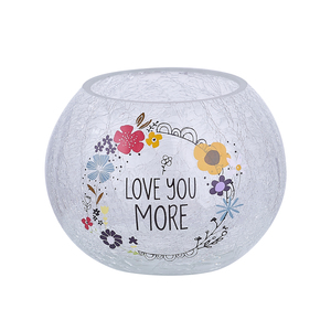 "Love You by Love You More - 5"" Crackled Glass Votive Holder"