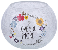 "Love You by Love You More - 5"" Crackled Glass Tealight Holder"