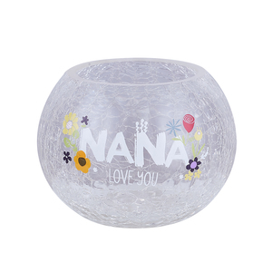 "Nana by Love You More - 5"" Crackled Glass Votive Holder"