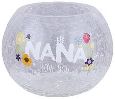 "Nana by Love You More - 5"" Crackled Glass Tealight Holder"