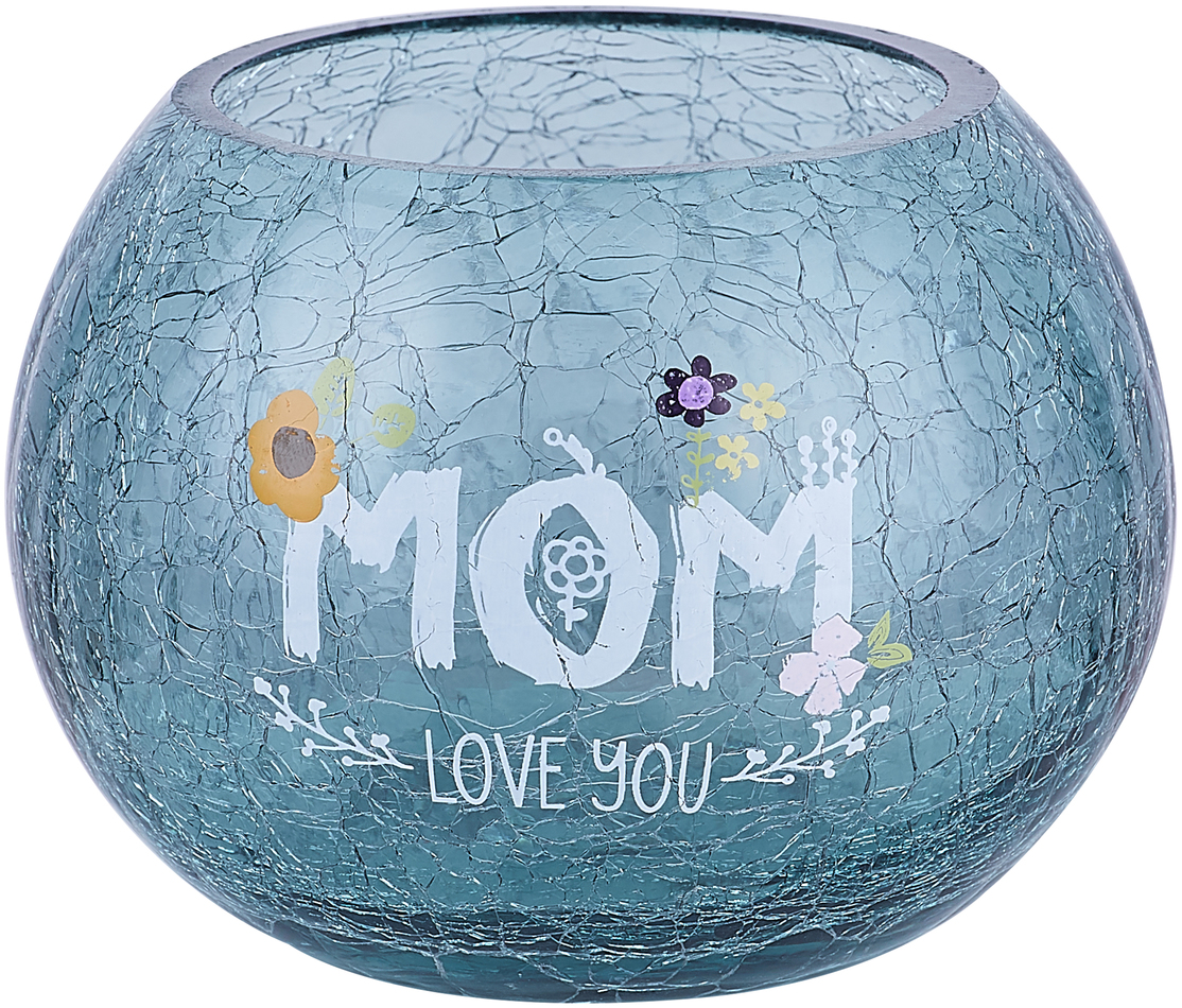 "Mom by Love You More - Mom - 5"" Crackled Glass Votive Holder"