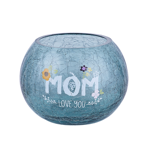 "Mom by Love You More - 5"" Crackled Glass Votive Holder"