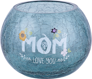 "Mom by Love You More - 5"" Crackled Glass Tealight Holder"