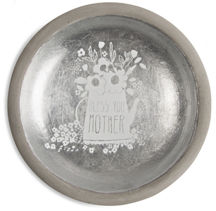 "Mother by Bless My Bloomers - 5"" Cement Keepsake Dish"