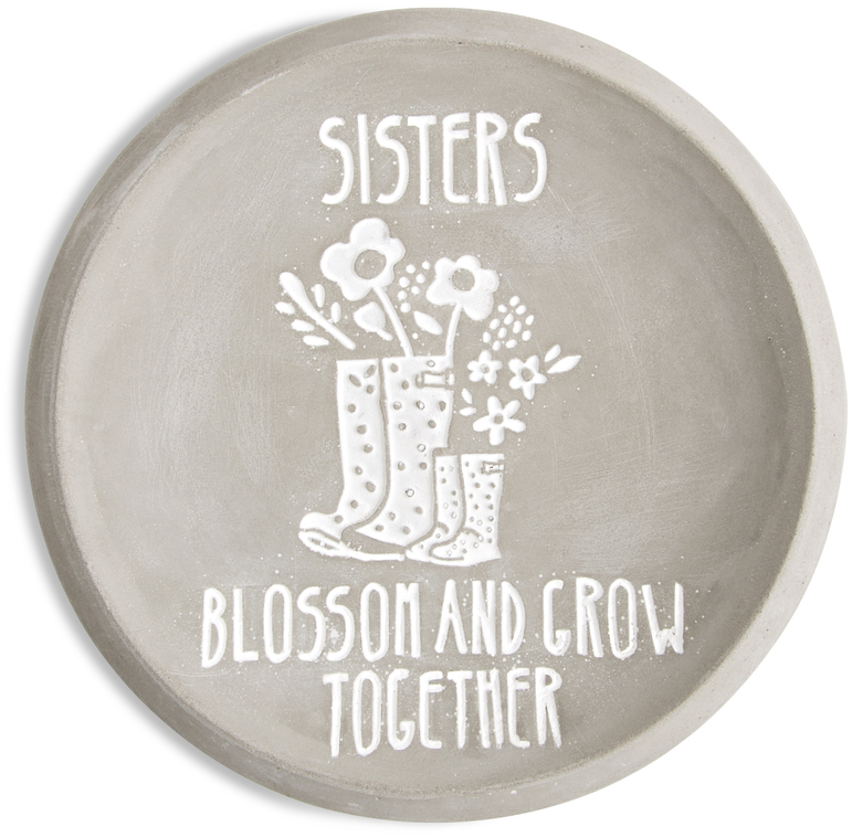 "Sisters by Bless My Bloomers - Sisters - 5"" Cement Keepsake Dish"