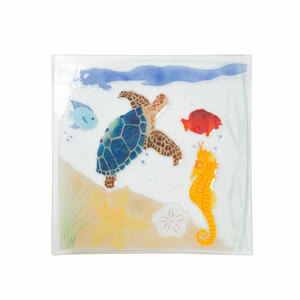 "Under the Sea by Fusion Art Glass - 10"" Square Plate"