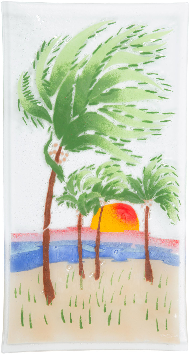 "Palm Trees by Fusion Art Glass - Palm Trees - 15"" x 8"" Serving Tray"