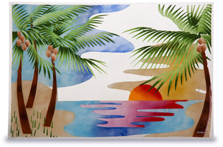 "Palm Trees by Fusion Art Glass - 19""x13"" Serving Tray Ins"