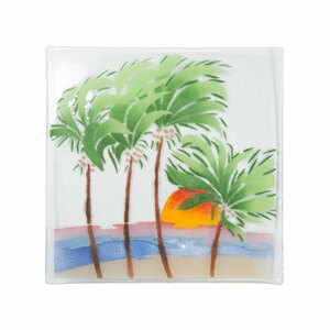 "Palm Trees by Fusion Art Glass - 10"" Square Plate"