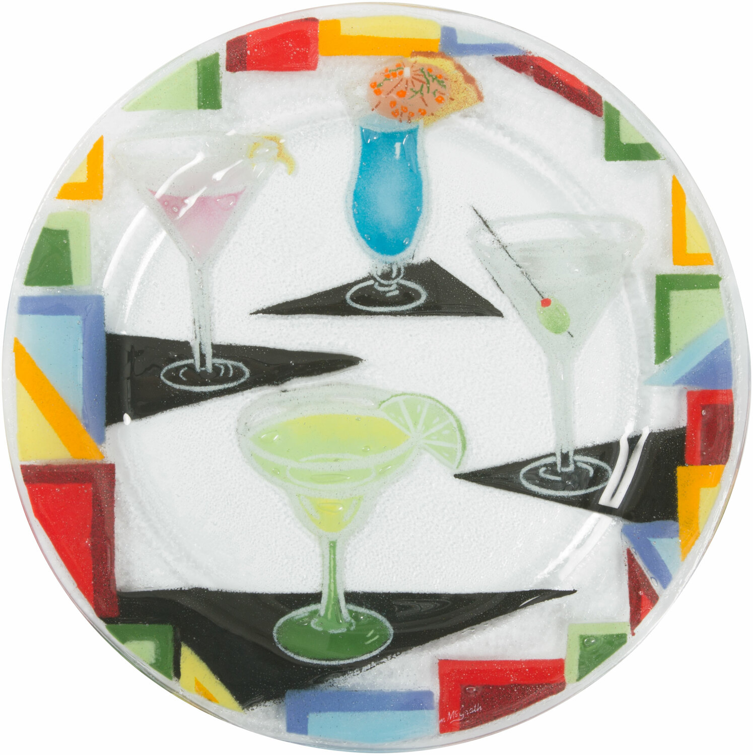 "Cocktails by Fusion Art Glass - Cocktails - 11"" Round Plate"