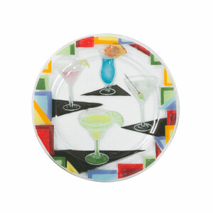 "Cocktails by Fusion Art Glass - 11"" Round Plate"