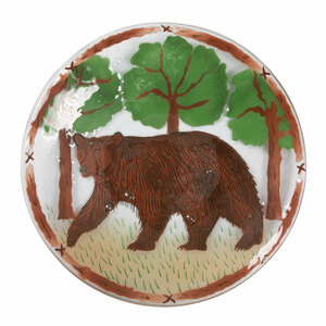 "Bear by Fusion Art Glass - 14"" Round Plate"