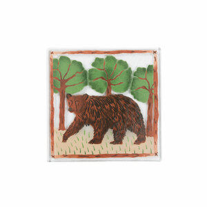 "Bear by Fusion Art Glass - 7"" Square Trivet"