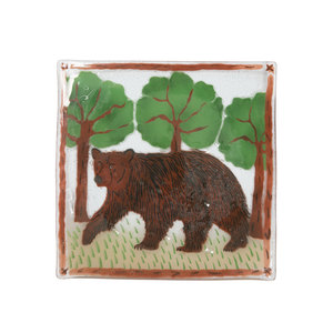 "Bear by Fusion Art Glass - 10"" Square Plate"