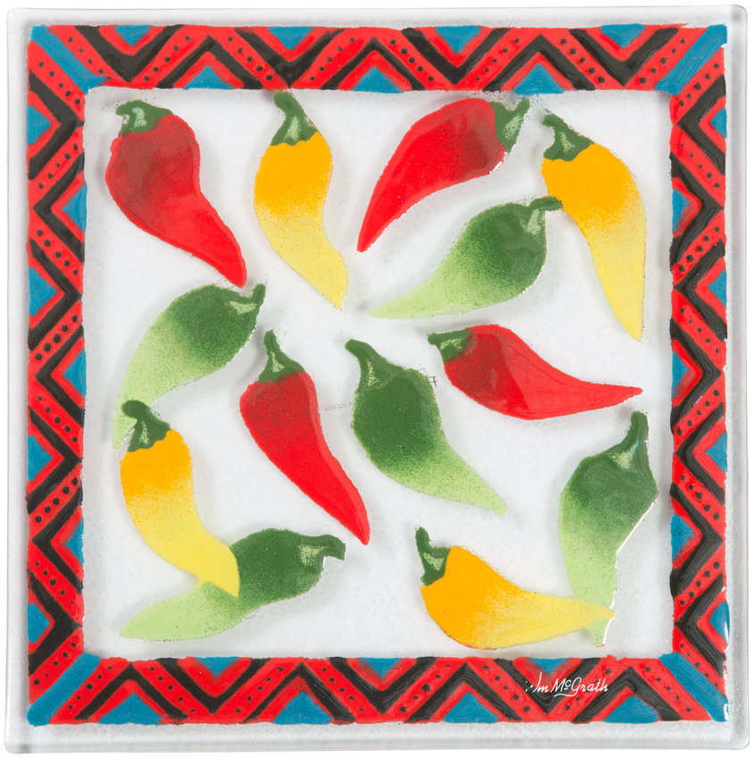 "Chili Peppers by Fusion Art Glass - Chili Peppers - 7""  Square Trivet"