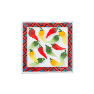 "Chili Peppers by Fusion Art Glass - 7""  Square Trivet"