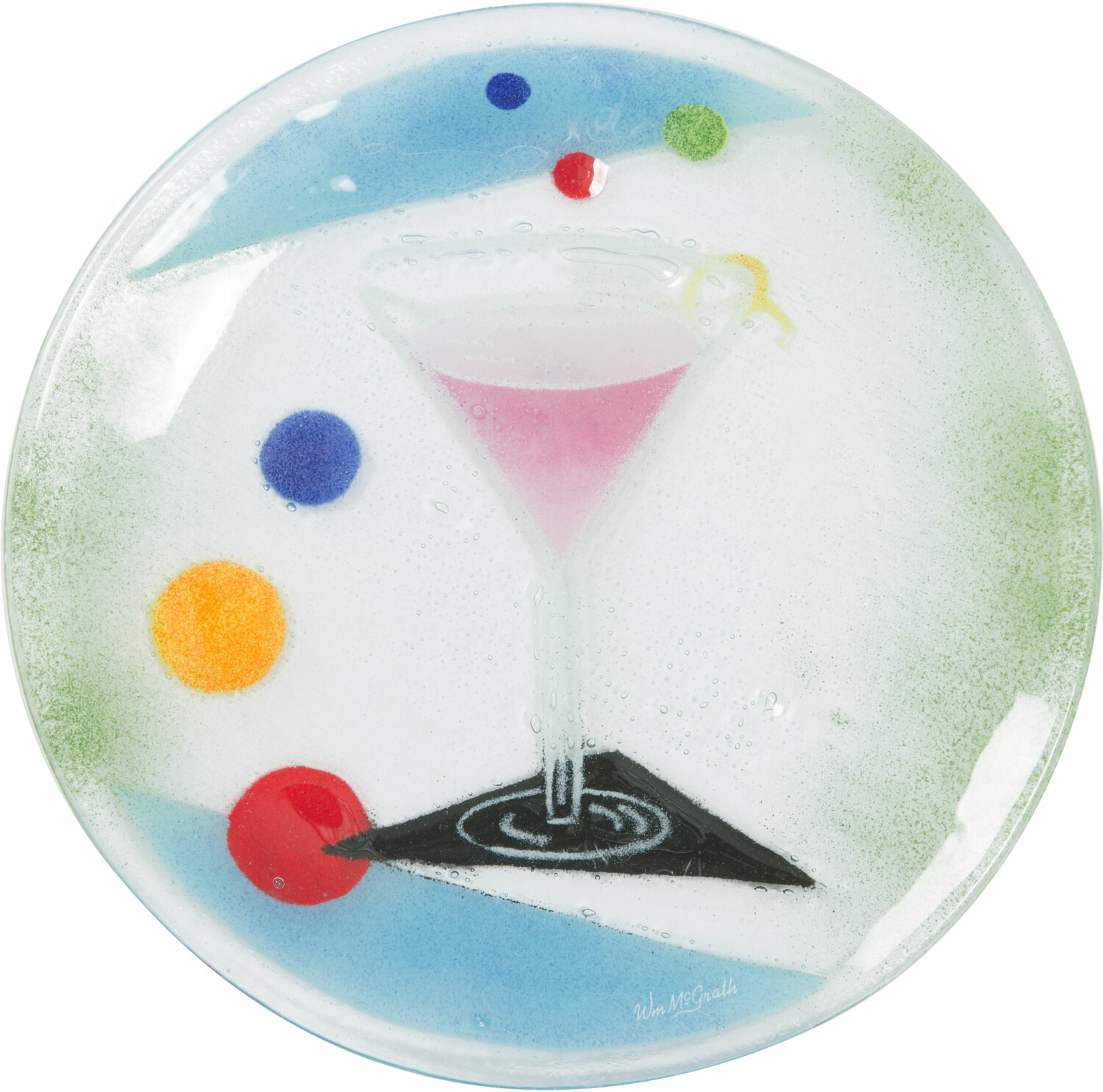 "Cocktails by Fusion Art Glass - Cocktails - Cosmo 8"" Round Plate"