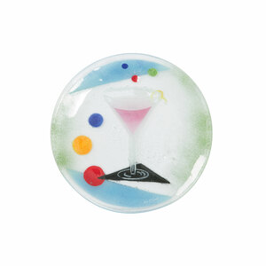 "Cocktails by Fusion Art Glass - Cosmo 8"" Round Plate"