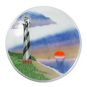 "Lighthouse by Fusion Art Glass - 14"" Round plate"