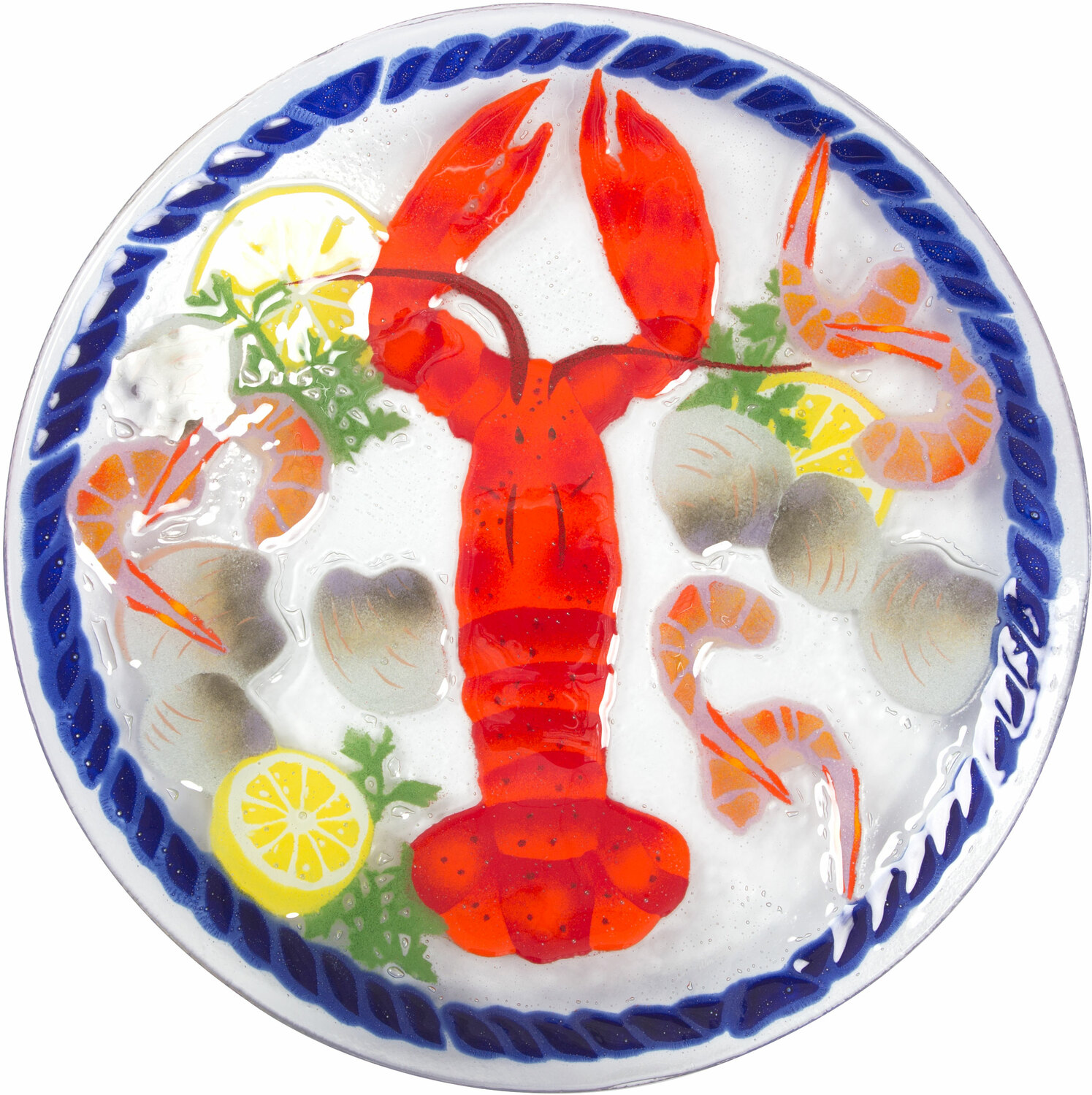 "Lobster Feast by Fusion Art Glass - Lobster Feast - 14"" Round Plate"