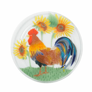 "Country Rooster by Fusion Art Glass - 11"" Round Plate"