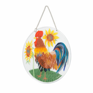 "Country Rooster by Fusion Art Glass - 7"" Sun Catcher"