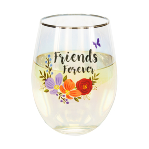 Friends by Bunches of Love - 18 oz Stemless Wine Glass