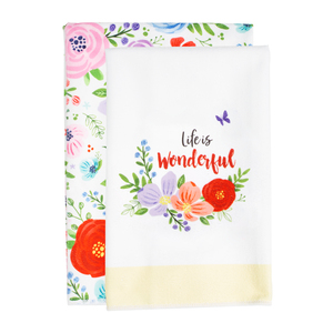 "Wonderful Life by Bunches of Love - Tea Towel Gift Set (2 - 19.75"" x 27.5"")"