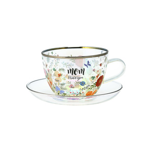 Mom by Bunches of Love - 7 oz Glass Tea Cup and Saucer