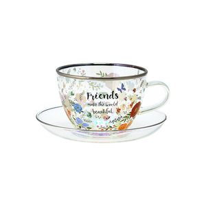 Friends by Bunches of Love - 7 oz Glass Tea Cup and Saucer